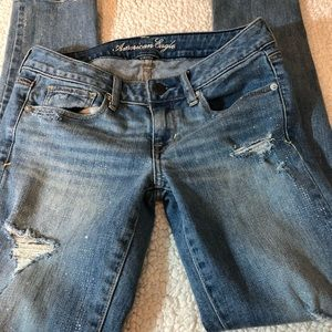 American Eagle Outfitters Jeans - American Eagle Distressed Glitter Skinny Jeans